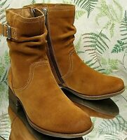 EARTH BROWN SUEDE LEATHER SLOUCH FASHION WESTERN BOOTS SHOES US WOMENS SZ 9 B