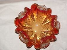 MURANO RED & CLEAR GOLD CONTROLED BUBBLES CIGAR/ETTE ASHTRAY BOWL