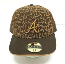 ATLANTA BRAVES HAT MLB 59Fifty New Era All-Over Logos Brown Tan Fitted Cap 7 1/4