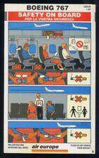 AIR EUROPE Italian Airline B 767 SAFETY CARD memorabilia no alitalia sc752 aa