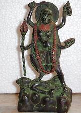 Hindu Goddess Kali Bhairavi Puja Statue Figure Handfinished Antique Green #BW750