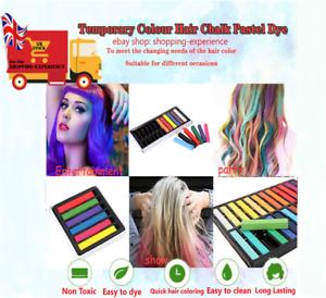 2 x HAIR CHALK TEMPORARY HAIR DYE COLOUR SOFT PASTELS SALON KIT 12 NON TOXIC