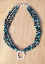 Blue Chrysocolla 3 Strand Necklace Sterling Silver Pendant with Blue Apatite Gem
