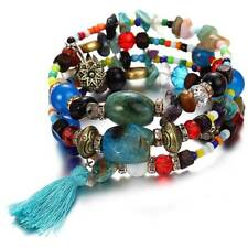 Natural Turquoise Agate Vintage Beaded Multi-layer Wrap Bracelet Bangle Jewelry