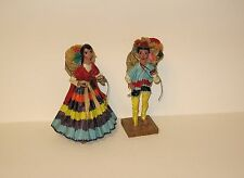 Mexican folk art peddlar dolls - paper mache - flower peddlers - Cancoun