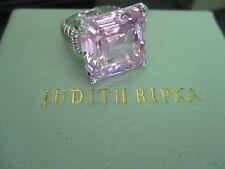 Judith Ripka Sterling Silver Diamonique PINK MONTANA Ring Size 6 NEW! JR Box/Pch