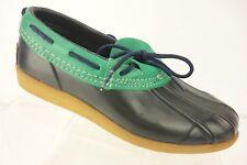 SPORTO Navy Blue & Green Leather Rubber Loafer Flat Duck Shoe Women's SZ 6 M