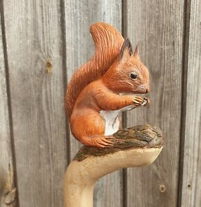 Hand carved Squirrel walking stick head / topper