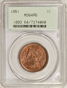 1851 Braided Hair Large Cent PCGS MS64RB #CAB0