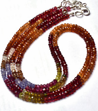 """1 STAND Natural  Multi color Garnet Faceted Rondelle Beads NECKLACE 3 - 4 MM 16"""""""