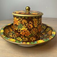 Vintage 1971 Daher Decorated Ware Autumn Fall Tin Bowl And Canister Set England