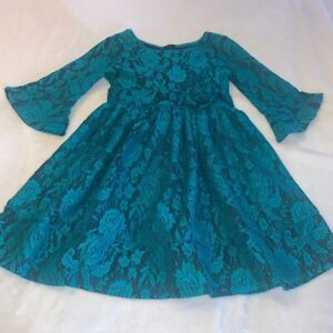 Girls Size 7 Bonnie Jean Black Teal Floral Flowers Roses Lace Overlay Dress EUC