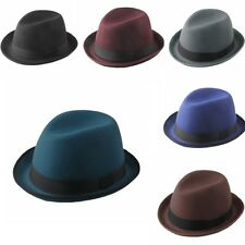 Women Men Roll Up Brim Hard Felt Fedora Trilby Panama Jazz Bowler Derby Cap Hat