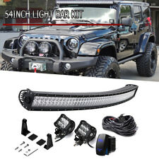 "04-14 Ford F150 54"" Curved LED Light Bar Combo+4"" Pods Cube+Wirings Offroad"