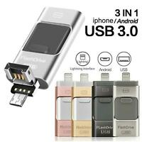 3 IN 1 USB Flash Drive Disk Storage Memory Stick For iPhone iPad PC Android iOS