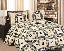 WESTERN WEDDING RING Full Queen QUILT SET : HORSES COWBOY BROWN ROUND UP BRONCO