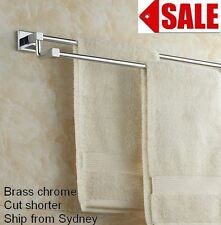 SPLIT LEVEL SQUARE BRASS MIRROR CHROME DUAL DOUBLE TOWEL RAIL BAR HOLDER 60cm