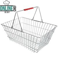 """21 1//4/"""" x 16 1//2/"""" Red Plastic Grocery Market Shopping Basket With Wheels Storage"""