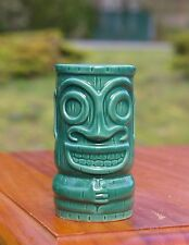 Green Tiki Ceramic Shot Glass Espresso Mini Mug Liquor Luau Party Tribal Hawaii