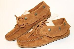 Minnetonka Womens Size 6.5 Suede Lace Up Rondele Fringed Moccasin Shoes 532