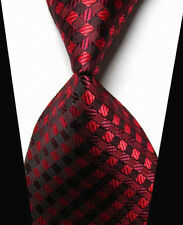 V222 Mens Classic Striped Plaid Red JACQUARD WOVEN Tie 100% Silk Ties Necktie