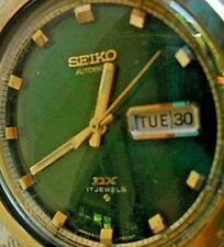 Green Dial Vintage 1975 Men's Seiko DX 17J Automatic Day Date Watch 7009-8019