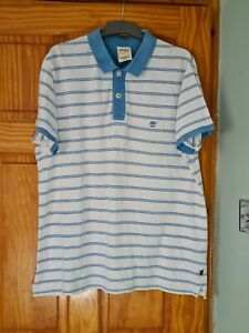 TIMBERLAND Blue & White Traditional Short Sleeve Cotton Polo Shirt XL