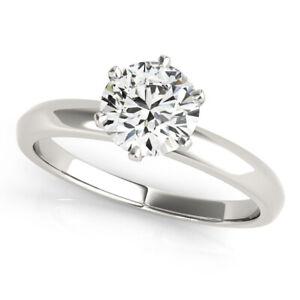 DIAMOND ENGAGEMENT RING D VS2 ROUND 1 CARAT SOLITAIRE 14K WHITE GOLD SIZES 4 - 9