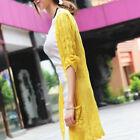 Women Long Casual Knit Knitwear Sweater Outwear Coat Sleeve Cardigan Hollow top