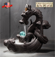 Ceramic Backflow Incense Burner Dragon Mountain Waterfall 060 & 20pcs Cones Gift