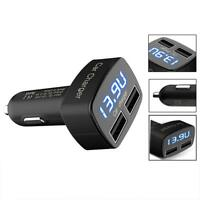 4 In 1 3.1A Dual USB Car Charger Adapter Voltmeter  Blue Celsius K#