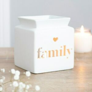 NEW & BOXED - Beautiful White Ceramic Family Heart Cut Out Oil Burner Wax Melts