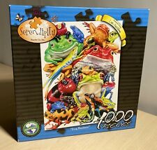 """Serendipity 'Frog Business' 1000 Piece Jigsaw Puzzle 20""""x27"""" Made In USA"""
