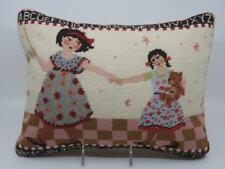 Katha Diddel Needlepoint Petit Point Pillow Two Girls Sisters Engelbreit Style