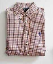Ralph Lauren Boys Long Sleeve Poplin Plaid Shirt Orange Multi Sz XL (18-20)-NWT
