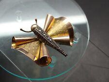 Alte Brosche Schmetterling .585 Gold Korpus aus Silber 3 kleine Diamanten (19031