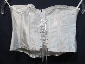 Wink Lingerie Womens 6XL White Satiny Lace-Up Bustier NWOT