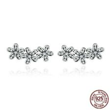 925 Silver sterling Triple dazzling 3 daisy cluster sparkling studs mum+gift box