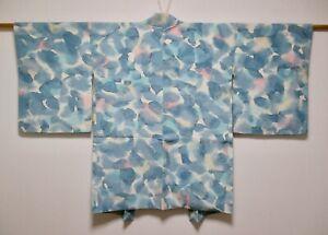 JAPANESE KIMONO SILK HAORI / LIGHT BLUE / BOKASHI DYED / FLOWER / SILK FABRIC