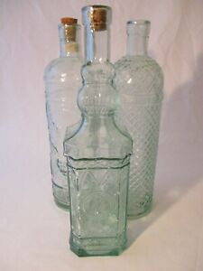 3 x Vintage Decorative Spanish Recycled Pressed Glass Bottles.