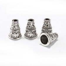 Wholesale 50 pcs Tibetan Antique Silver Cone Bead Caps End Beads Findings 9/10mm