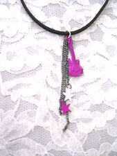 NEW GIRLY PINK WILD ELECTRIC GUITAR & STARS ON CHAINS ROCK PENDANT NECKLACE