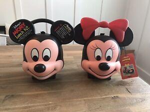 Mickey & Minnie Mouse Aladdin Lunch Kit Box Heads Unused Vintage Disney NEW!
