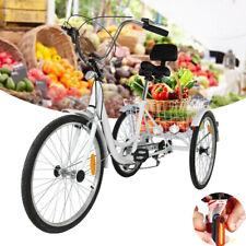 "26"" Tricycle Shimano 7-Speed Trike Bicycle Bike Cruise w/Basket+Tail Light"