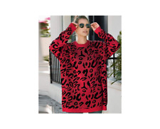 Women Knitted Pullover Sweater Long Sleeve Tops Jumper Animal Print Red Size XL