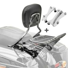 Sissybar + portaequipajes w1 para Harley Road Glide Custom 10-13 Crom.