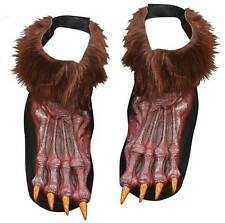 ADULT GREY OR BROWN WEREWOLF MONSTER FEET SHOE COVERS COSTUME ACCESSORY FW90569