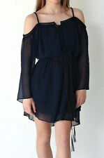 BNWT Womens Size 8,10 & 12 Navy Cold Shoulder Top With Belt Dress