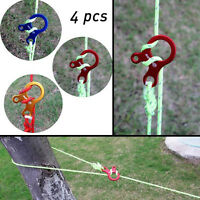 4PCS Multi Uses Stopper Tie knots Tent Rope Carabiner Buckle Tool Random Color