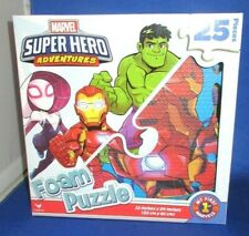 "CARDINAL MARVEL SUPER HERO ADVENTURES 25 PIECE FOAM PUZZLE 13'X 24"" NEW"